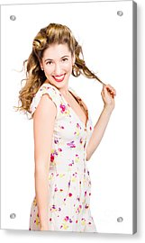 Female Model With Perfect Skin And Curly Hairstyle Acrylic Print