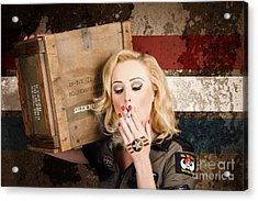 Female Pin-up Solider Smoking Cigarette Ration Acrylic Print by Jorgo Photography - Wall Art Gallery