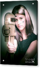 Female Plumber With Wrench Acrylic Print