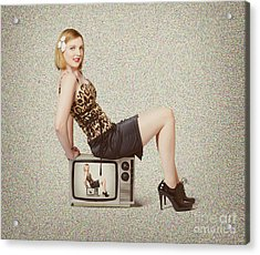 Female Television Show Actress On Old Tv Set Acrylic Print by Jorgo Photography - Wall Art Gallery