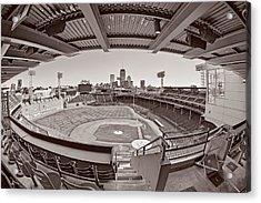 Fenway Park And Boston Skyline Acrylic Print by Susan Candelario