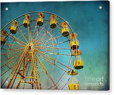 Acrylic Print featuring the photograph Ferris Wheel With Grunge Effect by Mohamed Elkhamisy