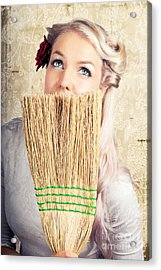 Fifties Housewife Daydreaming While Cleaning Acrylic Print