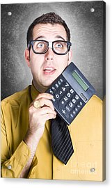 Finance Office Worker Thinking With Big Calculator Acrylic Print