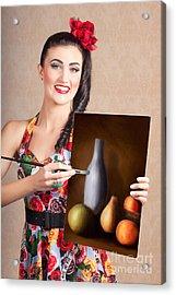 Fine Art Girl Painting Still Life Gallery Artwork Acrylic Print by Jorgo Photography - Wall Art Gallery