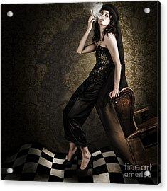 Fine Art Grunge Fashion Portrait In Dark Interior Acrylic Print