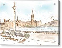 Fine Art Landscape Sketch Of Stockholm Sweden  Acrylic Print