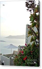 Fira Santorini  Acrylic Print by Sarah Christian