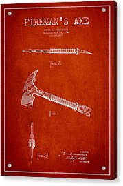 Fireman Axe Patent Drawing From 1940 Acrylic Print