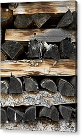 Firewood Stack Acrylic Print by Frank Tschakert