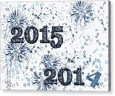 Fireworks And Stars Happy New Year 2015 Acrylic Print