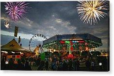 Fireworks At An Amusement Park Acrylic Print by Darren Greenwood