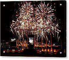 Fireworks At Kauffman Stadium Acrylic Print by Alan Hutchins