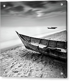 Fisherman Boat At Beach In Black And Acrylic Print by Photography By Azrudin
