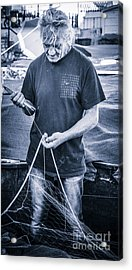 fisherman mending nets on Anzio harbour Acrylic Print