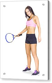 Fit Active Female Sports Person Playing Tennis Acrylic Print
