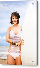 Fit Woman With Surfboard Acrylic Print by Jorgo Photography - Wall Art Gallery