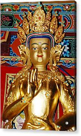 Acrylic Print featuring the photograph Five Dhyani Buddhas by Lanjee Chee