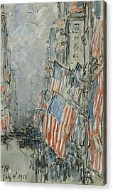 Flag Day. Fifth Avenue. July 4th 1916 Acrylic Print by Celestial Images