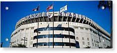 Flags In Front Of A Stadium, Yankee Acrylic Print by Panoramic Images