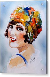 Acrylic Print featuring the painting Flappers Girl by Steven Ponsford