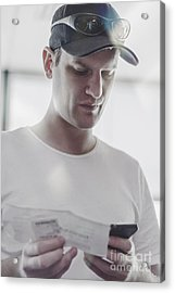 Flight Passenger At Airport Check-in With Mobile Acrylic Print by Jorgo Photography - Wall Art Gallery