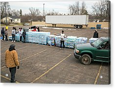 Flint Bottled Drinking Water Distribution Acrylic Print by Jim West