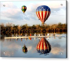 Floating And Rowing Acrylic Print by James Stough