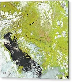 Flooding In The Balkans Acrylic Print by Nasa Earth Observatory