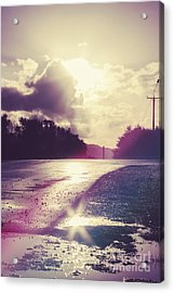 Florescent Road Sunset. Passing Storm Reflection Acrylic Print by Jorgo Photography - Wall Art Gallery