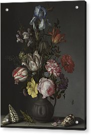 Flowers In A Vase With Shells And Insects Acrylic Print by Balthasar van der Ast