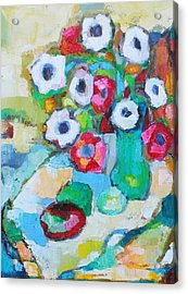 Flowers In Green Vase Acrylic Print by Becky Kim