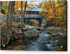 Flume Gorge Covered Bridge Acrylic Print by Jeff Folger