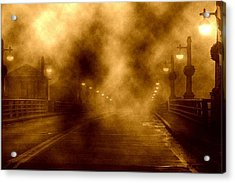 Acrylic Print featuring the photograph Foggy Night At The Bridge by Holly Martinson