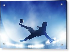 Football Soccer Match A Player Shooting On Goal Acrylic Print by Michal Bednarek