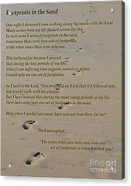 Footprints In The Sand Poem Acrylic Print