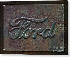 Detail Old Rusty Ford Pickup Truck Emblem Acrylic Print by John Stephens
