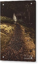 Forest Log Cabin Or Cottage With Leafy Autumn Path Acrylic Print by Jorgo Photography - Wall Art Gallery