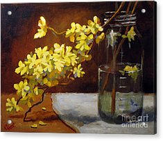 Acrylic Print featuring the painting Forsythia by Carol Hart