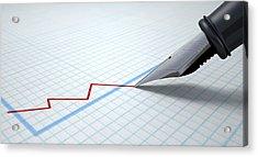 Fountain Pen Drawing Declining Graph Acrylic Print by Allan Swart