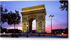 France, Paris, Arc De Triomphe, Night Acrylic Print by Panoramic Images