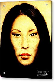 Freckle Faced Beauty Lucy Liu  Acrylic Print by Jim Fitzpatrick