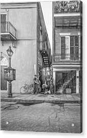 French Quarter Trio - Paint Bw Acrylic Print by Steve Harrington
