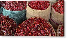 Fresh Dried Chilli On Display For Sale Zay Cho Street Market 27th Street Mandalay Burma Acrylic Print by Ralph A  Ledergerber-Photography