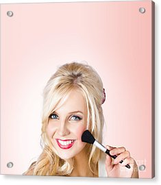 Fresh Faced Makeup Girl With Cosmetic Brush Acrylic Print