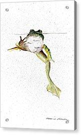 Frog On Waterline Acrylic Print by Steven Schultz