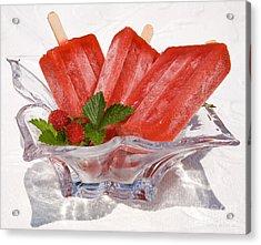 Frozen Strawberry Popsicles  Acrylic Print
