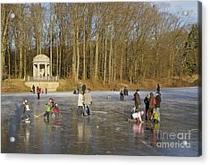 Frozen Lake Krefeld Germany. Acrylic Print by David Davies