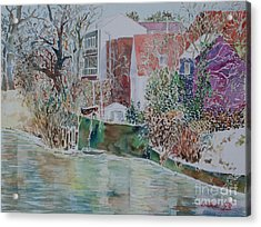 Acrylic Print featuring the painting Fuerth Eastern Riverside Of Rednitz by Alfred Motzer