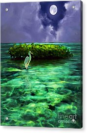 Full Moon Fishing Acrylic Print